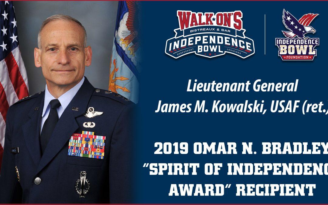 "Retired Lieutenant General James M. Kowalski Named2019 Omar N. Bradley ""Spirit of Independence ""Award Recipient"